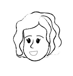 Figure happy cute woman face with hairstyle vector
