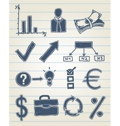 Finance doodle set vector image