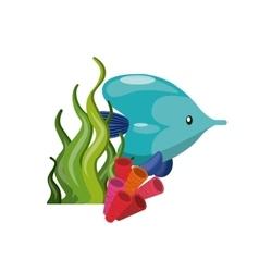 Fish coral and algae icon Sea life design vector