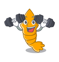 Fitness shrimps on a character cartoon style vector