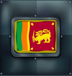 Flag of srilanka on metalic background vector