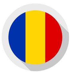 flag romania round shape icon on white vector image