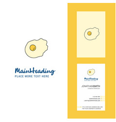 Fry egg creative logo and business card vertical vector