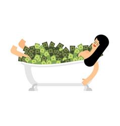 girl in bathtub of money woman in bath full cash vector image