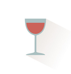 glass wine icon with shadow flat vector image