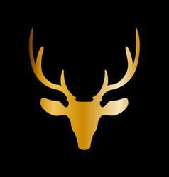 golden silhouette of reindeer head with big horns vector image
