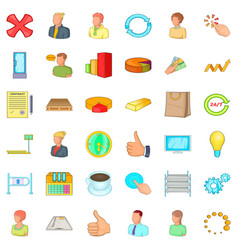 great corporation icons set cartoon style vector image