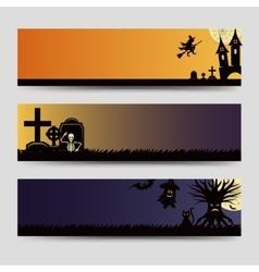 Halloween banners templates set vector