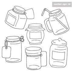 hand drawn black and white jars vector image