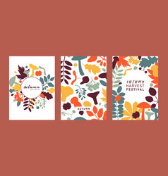 hand drawn fall designs in color autumn botanical vector image