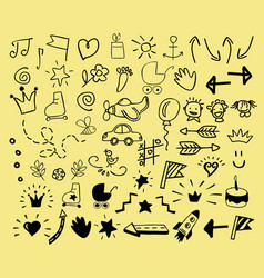 hand drawn icons for children vector image