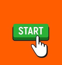 Hand mouse cursor clicks the start button vector