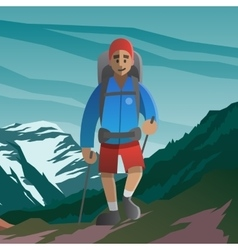 Happy man walking in the mountains Front view vector