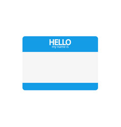 Hi my name is blue flat sticker on a white vector