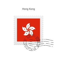 Hong Kong Flag Postage Stamp vector