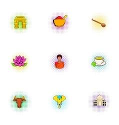 India Republic icons set pop-art style vector