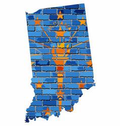 Indiana map on a brick wall vector