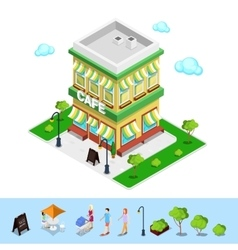 Isometric City Cafe with Tables and Trees vector image