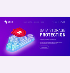 isometric data storage protection landing violet vector image