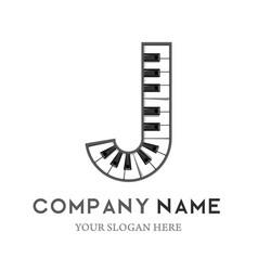 J letter logo design piano keyboard logo vector