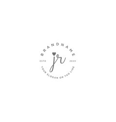 Jr letter feminine logo design vector