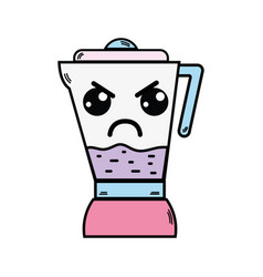 Kawaii cute angry blender technology vector