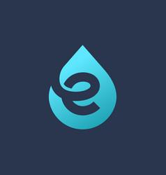 letter e water drop logo icon design template vector image