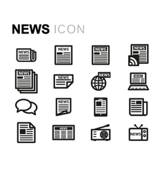 Line news icons set vector