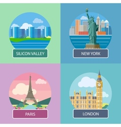 london silicon valley new york and paris vector image