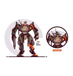 Man in military exoskeleton vector