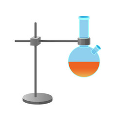 metal retort stand holding lab flask vector image