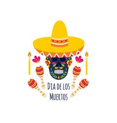 mexican dia de los muertos sugar skull wearing a vector image