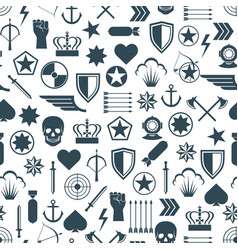 Military seamless pattern with flat army elements vector