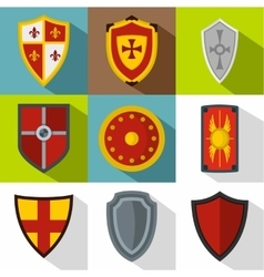 Military shield icons set flat style vector