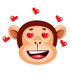 Monkey happy face with hearts on white background vector