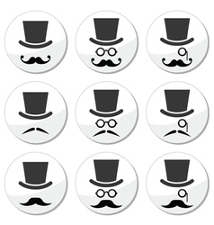 Mustache or moustache with hat and glasses icons vector image