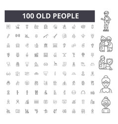 old people line icons signs set outline vector image
