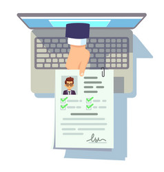 Online cv application resume submission on laptop vector