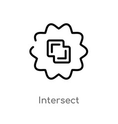 Outline intersect icon isolated black simple line vector