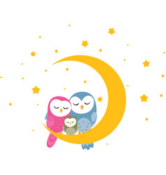 Owl family sleep on the moon background vector