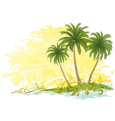 Palms and floral pattern vector