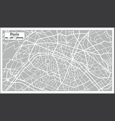 paris map in retro style hand drawn vector image