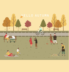 Park at autumn or fall with people activity vector