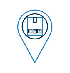 Pin location with box carton delivery icon vector