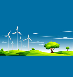 polygonal landscape with wind farm vector image vector image