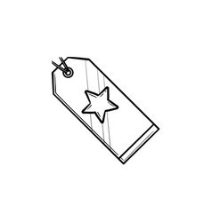 price tag with star hand drawn outline doodle icon vector image