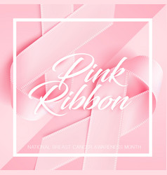 Realistic 3d pink silk ribbon breast cancer vector