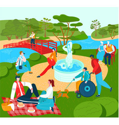 recreation for people in park summer lyfestyle vector image