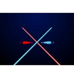 Red and blue glowing light swords vector image