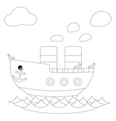 retro steam ship black and white poster vector image